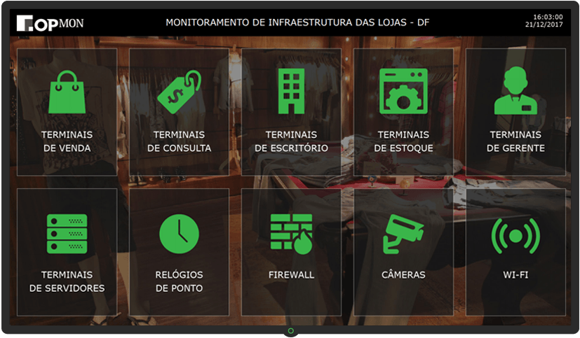Dashboard Monitoramento da Infraestrutura das Lojas